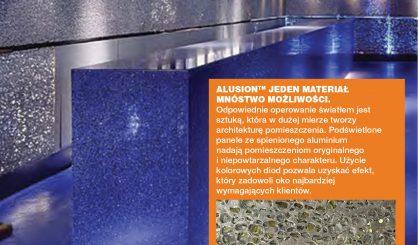 Z serii Jeden Produkt- Mnóstwo Możliwości. kolejne zastosowanie ALUSION- paneli ze spienionego aluminium._